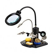 Лупа Kromatech настольная 2,5/4x, 85/21 мм, на гибком штативе с держателем и подсветкой (16 LED) TE-