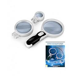 Лупа Kromatech ручная круглая со съемными линзами: 2,5x/ 90 мм; 5x/75 мм; 16x/37 мм, с подсветкой (2