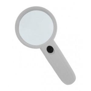 Лупа Kromatech ручная круглая 5х, 50 мм, с подсветкой (2 LED), белая (MG6B-3)