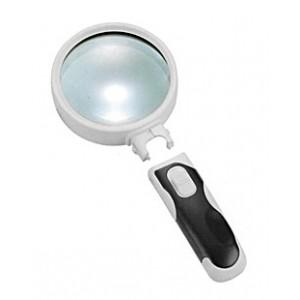 Лупа Kromatech ручная круглая 5x, 75 мм, с подсветкой (2 LED), черно-белая 77375B