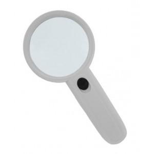 Лупа Kromatech ручная круглая 3х, 75 мм, с подсветкой (2 LED), белая MG6B-5