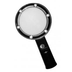 Лупа Kromatech ручная круглая 5х, 75 мм, с подсветкой (6 LED), черная ZB666-075