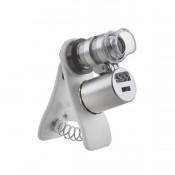 Микроскоп Kromatech 60x мини, с креплением для смартфона, подсветкой (2 LED) и ультрафиолетом (9882-