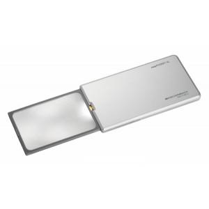 Лупа выдвижная асферическая Eschenbach EasyPocket XL 2,5x, 78x50 мм, с подсветкой, серебристая