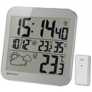 Часы настенные Bresser MyTime LCD, серебристые